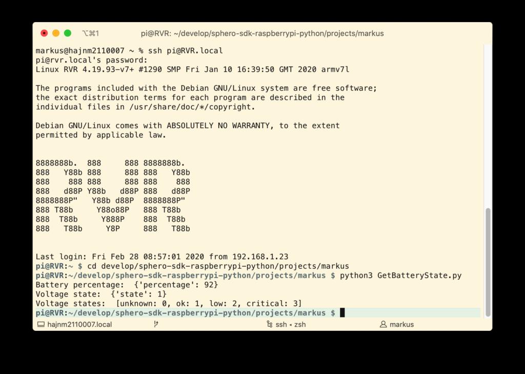 RVR Battery-State per Python