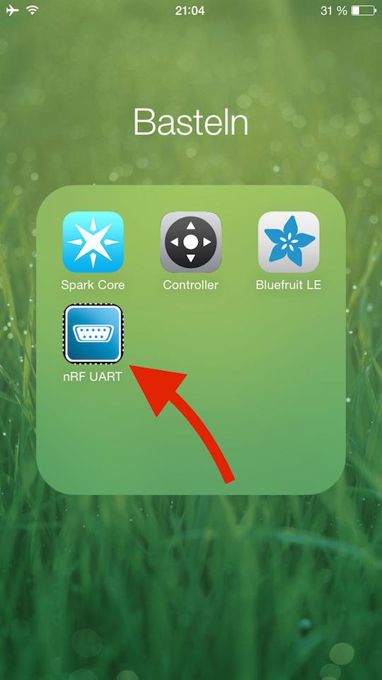 Installierte iOS-App nRF aud dem iPhone