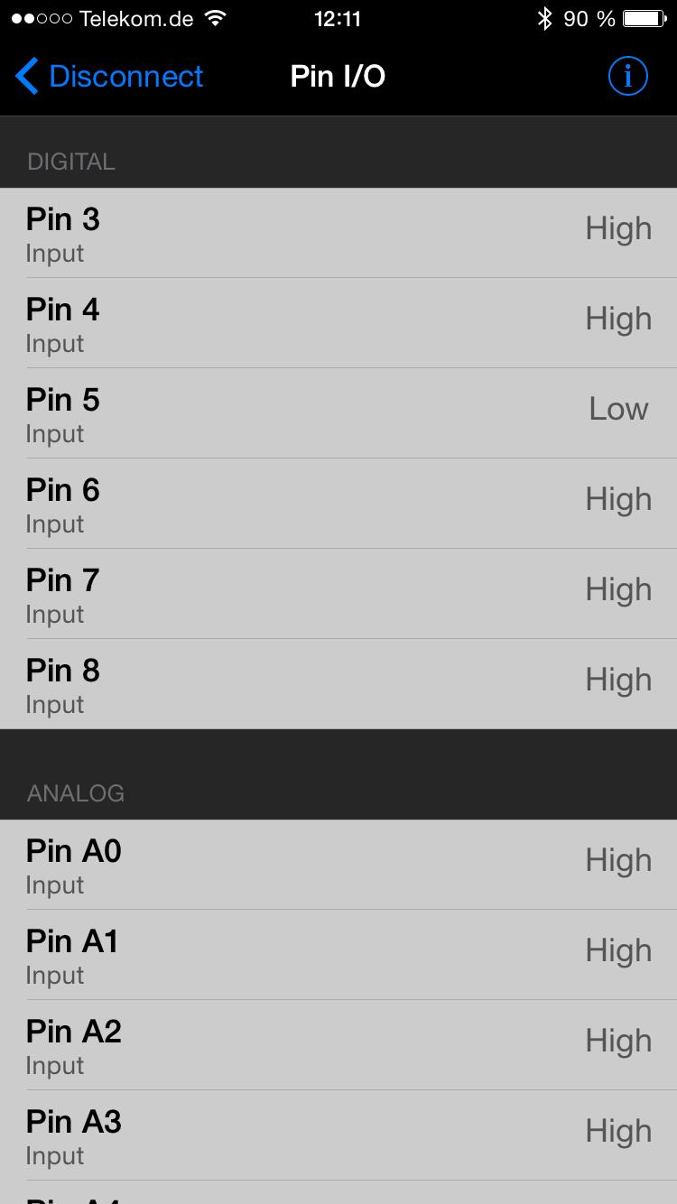 Auswahl des gewünschten Arduino-Pins.