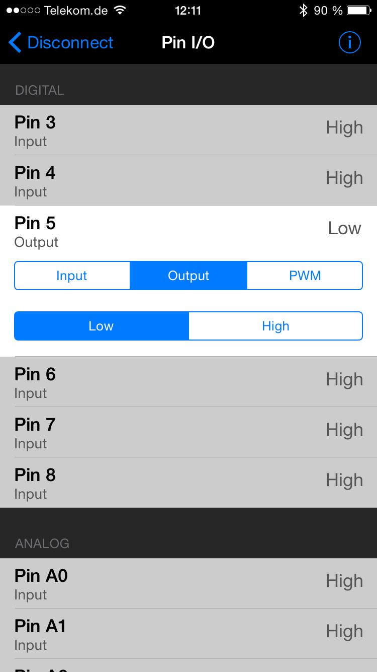Tippen auf LOW schaltet den Pin auf low.