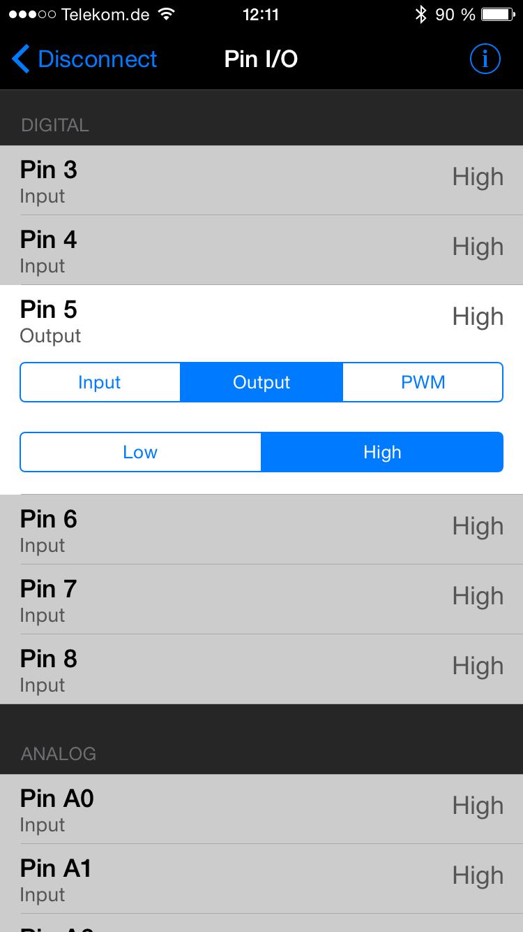 Tippen auf HIGH schaltet den Pin auf high.