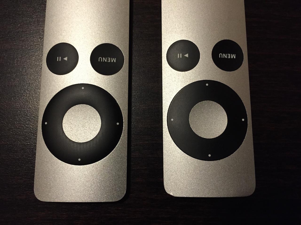 Die unterschiedlichen Apple Remote Fernbedienungen (links die neuere)